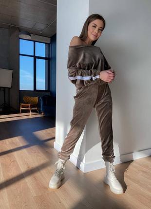 Велюровый спортивный прогулочный костюм