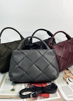 Женская кожаная плетёная стильна сумка через плечо polina & eiterou жіноча шкіяряна