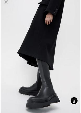 Чёрные кожаные сапоги-ботинки