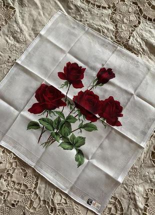 Белоснежный шикарный носовой платок из батистовой ткани винтаж ручная работа