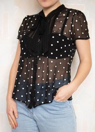 Шёлковая прозрачная чёрная блуза в горошек oasis