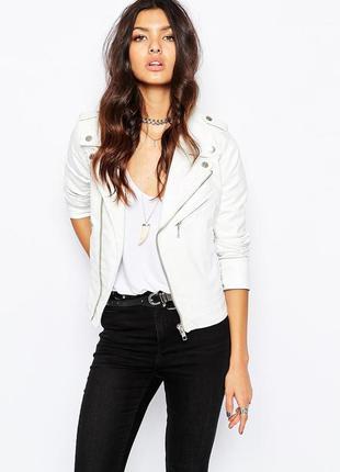 Белая куртка косуха, бесплатная доставка