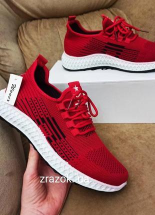 Красные текстильные кроссовки кеды слипоны мокасины большие размеры