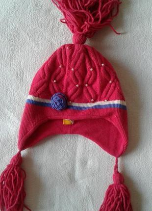"""Розовая шапка с бусинами """"autventure"""", 8-12 лет"""