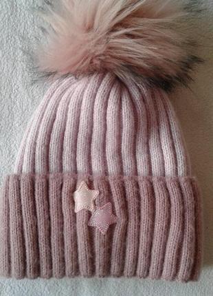 """Тёплая зимняя шапочка с помпоном """"kraft +"""""""