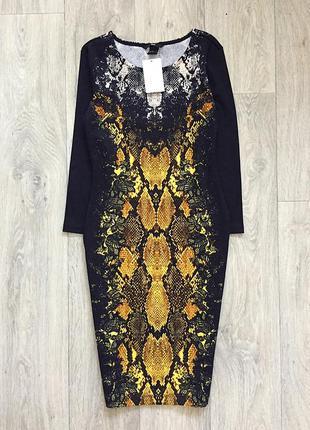 Чёрное платье с принятом миди h&m