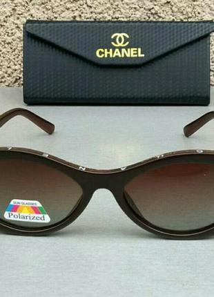 Chanel очки стильные женские солнцезащитные овальные узкие коричневые