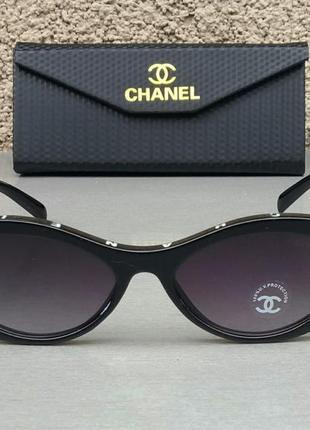 Chanel очки женские солнцезащитные стильные черные узкие овальные