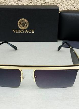 Versace очки женские солнцезащитные черные в золоте узкие стильные