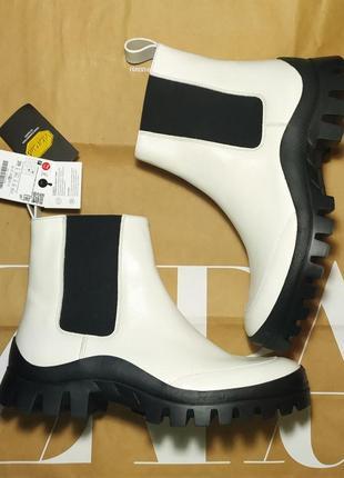 Деми ботинки сапожки zara-оригинал, натуральная кожа, подошва vibram