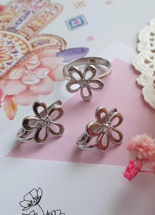 Комплект украшений, серьги и кольцо, серебро. италия
