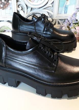 Кожаные деми туфли на высокой платформе 36-38 размеры