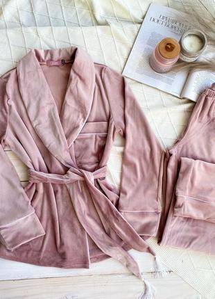 Велюровой комплект шаль, рубашка + штаны, домашний костюм, плюшевая пижама