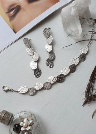 Комплект украшений, серьги и браслет, серебро 925. италия