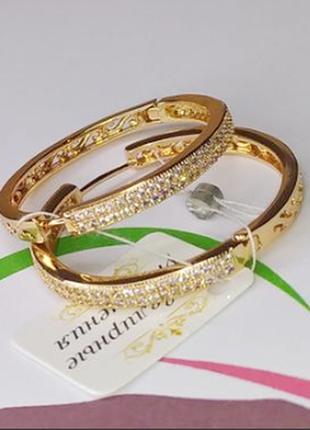 Серьги кольца ø 3.5см позолота xuping, медицинское золото