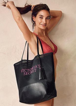 Вместительная сумка шоппер пляжная виктория сикрет victorias secret