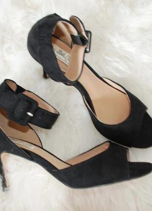 Босоножки туфли черные на среднем каблуке вокруг косточки эко замша купить цена