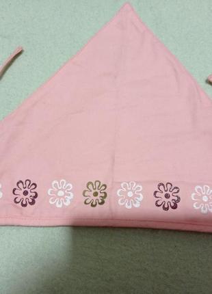 Красивая розово-персиковая хлопковая 💯 сдвоенная косыночка для девочки