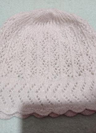 Супер красивая ажурная кремовая шапочка с люрексом шерсть ангора
