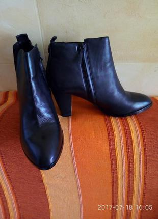 Кожаные ботильоны /шкіряні чобітки massimo dutti