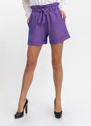 Шорты женские с поясом цвет фиолетовый