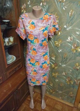 Штапельное летнее платье,  ровное👗   52р