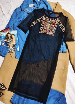 River island платье чехол прямое футболка туника черная сеточка с вышивкой