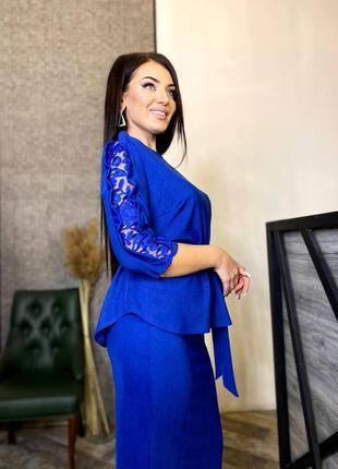 Женский костюм норма и батал ткань креп дайвинг с напылением цвет: синий, электрик