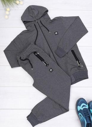 🌿 мужской тёмно-серый спортивный костюм