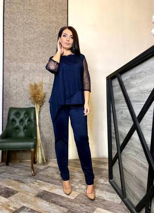 Стильный женский костюм батал ткань:креп дайвинг с напылением цвет: марсала,черный,синий