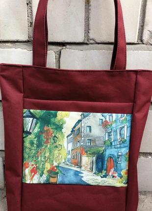 Шоппер сумка на плечо бордовая с принтом плотная недорого