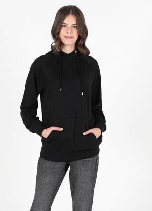 Толстовка жіноча, кофта з капюшоном, базова трендова кофта чорна.
