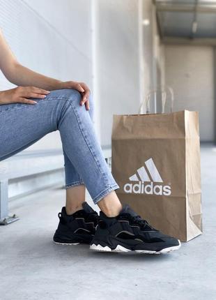 Новые женские черные кожаные кроссовки adidas