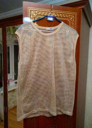 Стильная брендовая майка футболка сетка, размер 48-52