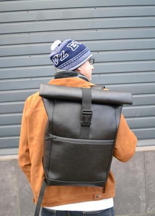 Рюкзак роллтоп кожаный ролтоп экокожа отделение под ноутбук