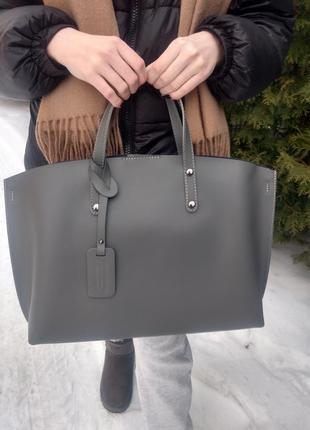 Кожаная сумка шоппер серая итальянская genuine leather шкіряна італійська