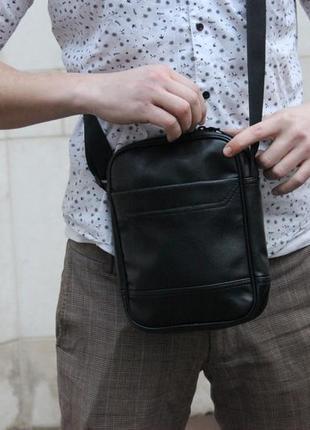 Мужская кожаная сумка через плечо барсетка мессенджер экокожа