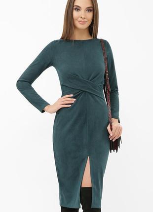 Платье женское изумруд замш облегающее