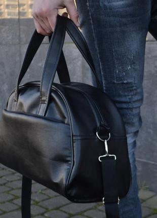 Кожаная спортивная дорожная сумка с экокожи мужская женская