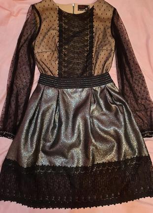 Платье  серо черное