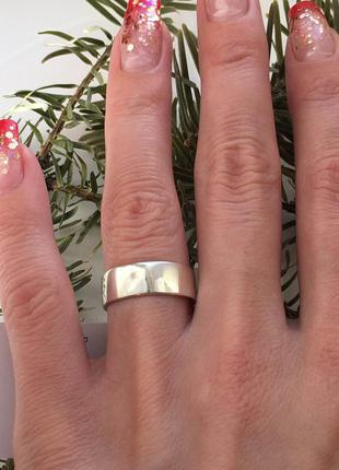 Кольцо серебряное обручальное американка