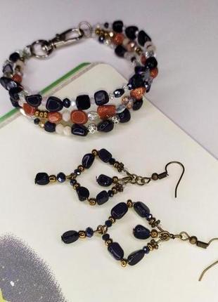 Шикарный набор браслет и серьги из натурального камня