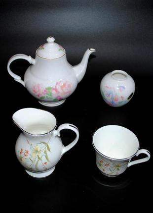 Набор комплект aynsley  англия костяной фарфор сервиз чайник чашка молочник