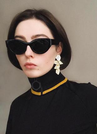 Тренд 2021 солнцезащитные очки черные имиджевые ретро винтаж чорні окуляри