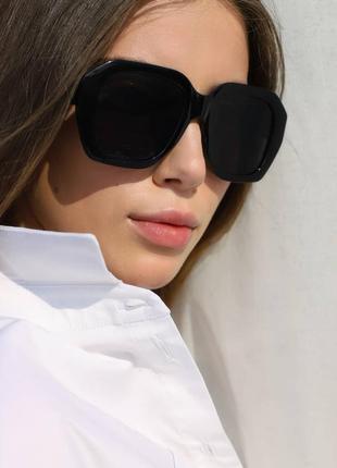 Тренд 2021 качественные черные очки квадратные оверсайз большие ретро окуляри чорні великі