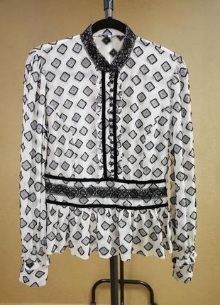 Оригинальная шелковая блуза с баской in wear с длинными рукавами