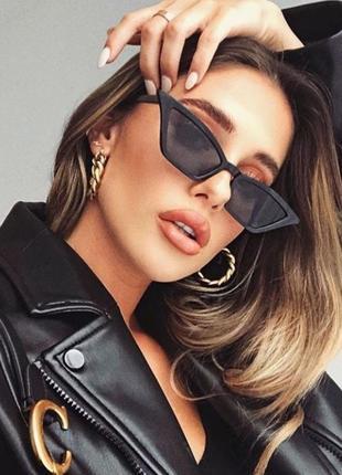 Тренд 2021 черные узкие очки имиджевые солнцезащитные лисички ретро окуляри чорні вузькі