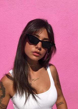 Тренд 2021 черные узкие очки имиджевые солнцезащитные лисички ретро окуляри чорні вузькі2 фото