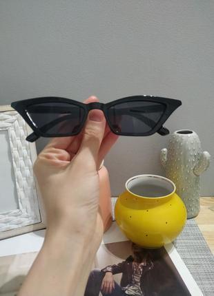 Тренд 2021 черные узкие очки имиджевые солнцезащитные лисички ретро окуляри чорні вузькі8 фото