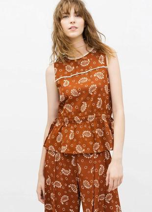 Zara basic крутая жатая блуза топ принт пейсли турецкий огурец слеза аллаха